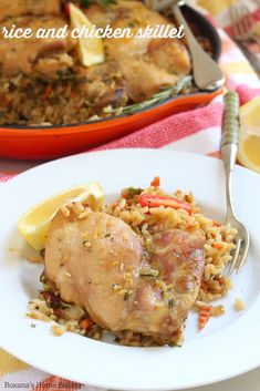 Simple brown rice and chicken skillet - this comforting and satisfying one-dish meal is full of flavor, plus it takes one hour from start to finish.