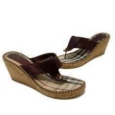 ccc84a7fc874 Burberry Signature Leather Espadrille Sandal Brown Sz 10 Dark Brown Wedges