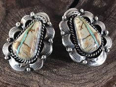 NAVAJO ~ROYSTON RIBBON ~TURQUOISE ~ STERLING~EARRINGS ~SIGNED~MARCELLA JAMES  | eBay