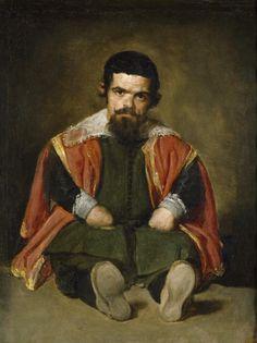 Art from Spain - Diego Rodríguez de Silva y Velázquez, (Seville 1599–1660 Madrid) . Retrato de Sebastian de Morra. - Don Sebastián de Morra formó parte de la corte de Felipe IV  como bufón, personaje cuyas identidad nos ha llegado gracias a los retratos de muchos de ellos a los que pintó Velázquez como pintor de la corte que era.