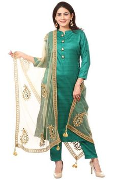 Green Kundan Silk Kurti with Straight Pants and Gold Net Mirror Paisley Dupatta Silk Kurti Designs, Salwar Neck Designs, Kurta Designs Women, Dress Neck Designs, Kurti Designs Party Wear, Blouse Designs, Churidar Designs, Pakistani Fashion Casual, Ethnic Fashion