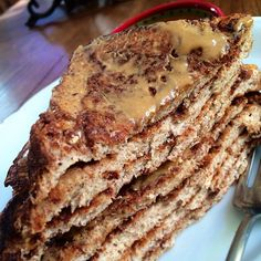 Photo taken by  Jenae  - INK361 Recipe: 4 slices Sara lea 45 cal bread, 1/2 cup egg whites, 1/3 cup almond milk, 1/4 scoop (9g cellucor) protein, & tons of cinnamon! Let's the bread soak and then create goodness Macros w/out the toppings: 1.2F / 29.6C / 31.9P