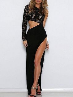 Shop Black Asymmetric Lace Panel Thigh Split Side Maxi Dress from choies.com .Free shipping Worldwide.$31.99
