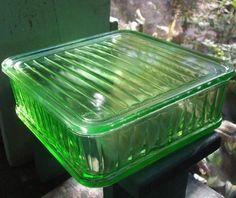 Green Depression Glass refridgerator dish