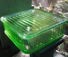 Green Depression Glass refrigerator dish