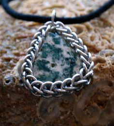 Moss Agate Teardrop Stone Pendant Wrapped in Chainmail by GeekyGaeaDesigns