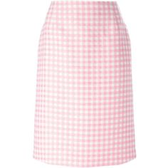 Au Jour Le Jour Gingham Pencil Skirt (480 RON) ❤ liked on Polyvore featuring skirts, gingham skirt, pencil skirt, au jour le jour, pink gingham skirt and pink pencil skirt