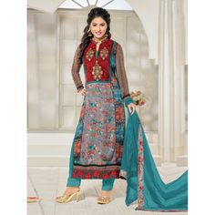 Party Wear Teal Georgette Churidar Suit - FA357-81006