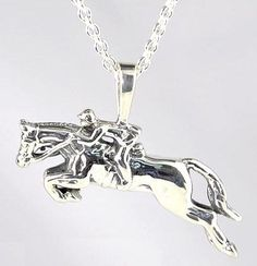 Sterling Silver Jumping Horse Necklace $77
