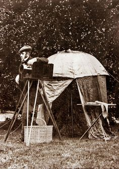 John Dillwyn Llewelyn with his wet collodion camera & dark tent, c.1854
