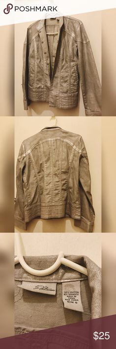 """Chicos Platinum Metallic Jacket Like new. Never been worn. Great condition and a really cute silver/Metallic color.  Cotton/Spandex. Waist 18"""" Length 23"""" Sleeve 23"""" Chico's Platinum Jackets & Coats Jean Jackets"""