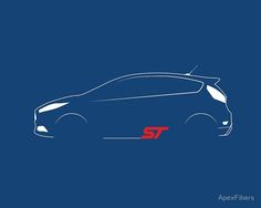'ST Brushstroke design' Poster by ApexFibers Ford Fiesta St, St Logo, Mexican Fiesta Party, Ford News, Bff Gifts, Vinyl Shirts, Ford Focus, Car Detailing, Brush Strokes