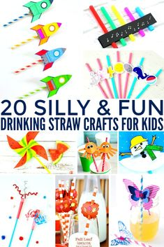 Looking for inexpensive crafts to make with straws? Check out these 20 silly & fun drinking straw crafts kids! Diy Straw Crafts, Diy Crafts For Home Decor, Crafts For Kids To Make, Summer Crafts, Crafts With Straws, Kids Crafts, Paper Crafts, Kids Diy, Craft Projects