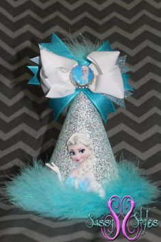 The perfect addition to your Frozen Party!  Elsa from Frozen Birthday Hat Accessory and Bow by SassyStylesbySS,\