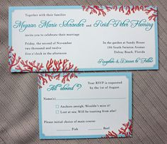 Tiffany Blue, Teal & Red Beach Coral Horizontal Wedding Invitations