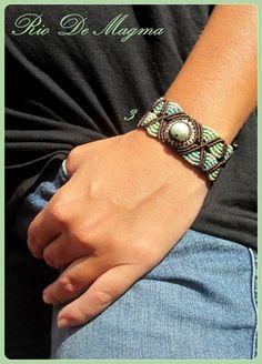 Amazonite Macrame Bracelet.  SOLD.  www.etsy.com/shop/RioDeMagma www.facebook.com/RioDeMagma