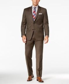Michael Michael Kors Men's Classic-Fit Brown Birdseye Suit - Brown 42L