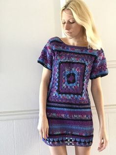 Groovy purple crochet dress от TessaPerlowInc на Etsy