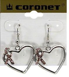 Pink Ribbon Heart Earrings Breast Cancer Awareness Great Gift Idea | eBay