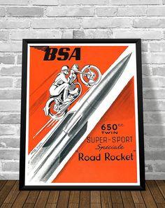 Affiche BSA 1954 - Garage Atelier Vintage - Limited Edition