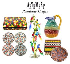"""""""Rainbow Crafts and Decor"""" by artemest ❤ liked on Polyvore featuring interior, interiors, interior design, home, home decor and interior decorating"""