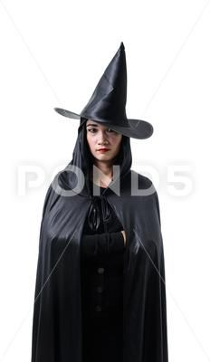 Portrait Of Woman In Black Scary Witch Halloween Costume Standing