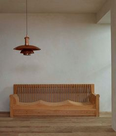 "Mario Ceroli (b. 1938) - ""Mobili nella Valle"" series sofa, 1966. Poul Henningsen (1894 – 1967) - PH 6/5 Lantern, c. 1928. -"