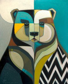 """Ursus"" © Erik Abel 2016 24""x30"" Acrylic, marker, colored pencil on wood.<br>Inquire for pricing"