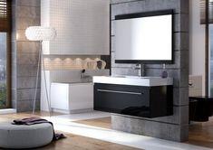 salle-bain-moderne-mosaique-blanc-or-niche-rangement-mur-aspect-beton salle de bain moderne