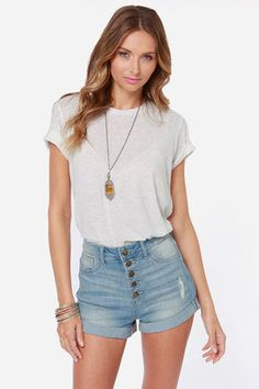 Personal High-Jean Distressed High Rise Jean Shorts at Lulus.com!