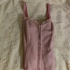 Pink Wool Corset Prink Corset with color specks clips together in the Front with Ribbon Shoulder Straps. Cute to wear under a blazer or evening out. Tops Crop Tops
