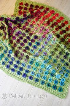 Felted Button - Colorful Crochet Patterns: Monet's Garden Throw Crochet Pattern