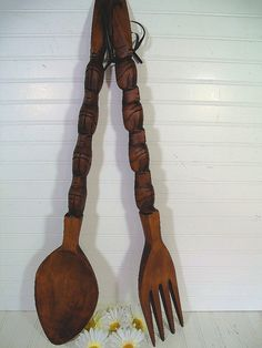 GIANT Retro Wooden Spoon & Fork Wall Set - Vintage Mid Century BoHo Kitsch Iconic HUGE Decor Duo - Oversized Solid Wood Wall Hanging Pair - by DivineOrders - $79.