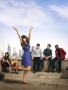 """New Girl  Most: """"we're all chill and cool"""" Jess: """"not me, I'm unique! Where are my hands going? Nobody knows!"""""""
