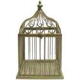 Antique Green Metal Bird Cage