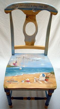 I would like to paint this on my old desk chair...but first I have to take off about 9 coats of paint, :(. | Beach Living