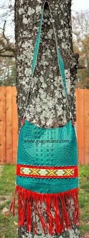 KurtMen Designs Cross Body Turquoise Croc, Yellow and Red Beaded Design and Silver Studs, Red Fringe Purse
