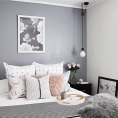 Beautiful romantic Scandinavian style master bedroom home decor using @yorkelee_prints interior premium Rose wall art print for styling this bedroom. Wall art prints by Yorkelee from $8 for A5 size.