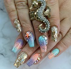 mermaid nails #mermaidnails #mermaid