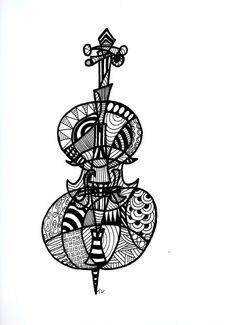 Cello. Original Ink Drawing