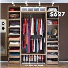 Ikea pax wardrobe- I need one of these bad! But would need to cover it with a curtain or something. Don't like the clothing exposed for everyone to see.