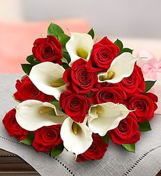 Stunning Red Rose & Calla Lily + Free Vase $49.99