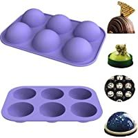 Cake Dome Mousse Jelly 6-Hole Semi Sphere Silicone Mold 2 Packs Baking Mold for Making Hot Chocolate Bomb