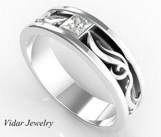 Mens Wedding Band Unique Two Tone Gold Princess Cut Diamond Wedding Ring