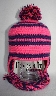 Hot pink and sparkle purple striped hat with pom pom
