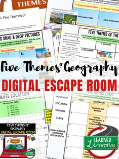 Five Themes of Geography Digital Escape Room, Breakout Room, Test Prep 6th Grade Social Studies, Social Studies Classroom, Social Studies Activities, History Classroom, Teaching Social Studies, Teaching Career, Therapy Activities, Five Themes Of Geography, Geography Activities