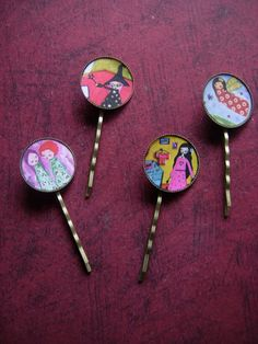 Items similar to Whimsical mixed media art hair pins-pack of 4 on Etsy Mix Media, Mixed Media Art, Jewelry Illustration, Hair Pins, Tin, Whimsical, Artsy, Unique Jewelry, Handmade Gifts