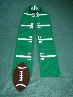 crochet football scarf | Football SCARF Superbowl Game Time by KellyzKreationz on Etsy