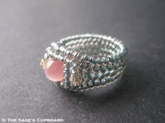 Gray and Pink Bead Ring. Three Stone Herringbone Beadwork Band ...