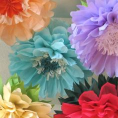 Summer Garden Bloom 7 Giant Hanging Paper Flowers, wonderland wedding, bridal/baby shower, fairy party decor, Party Blooms by Whimsy Pie. $45.50, via Etsy.